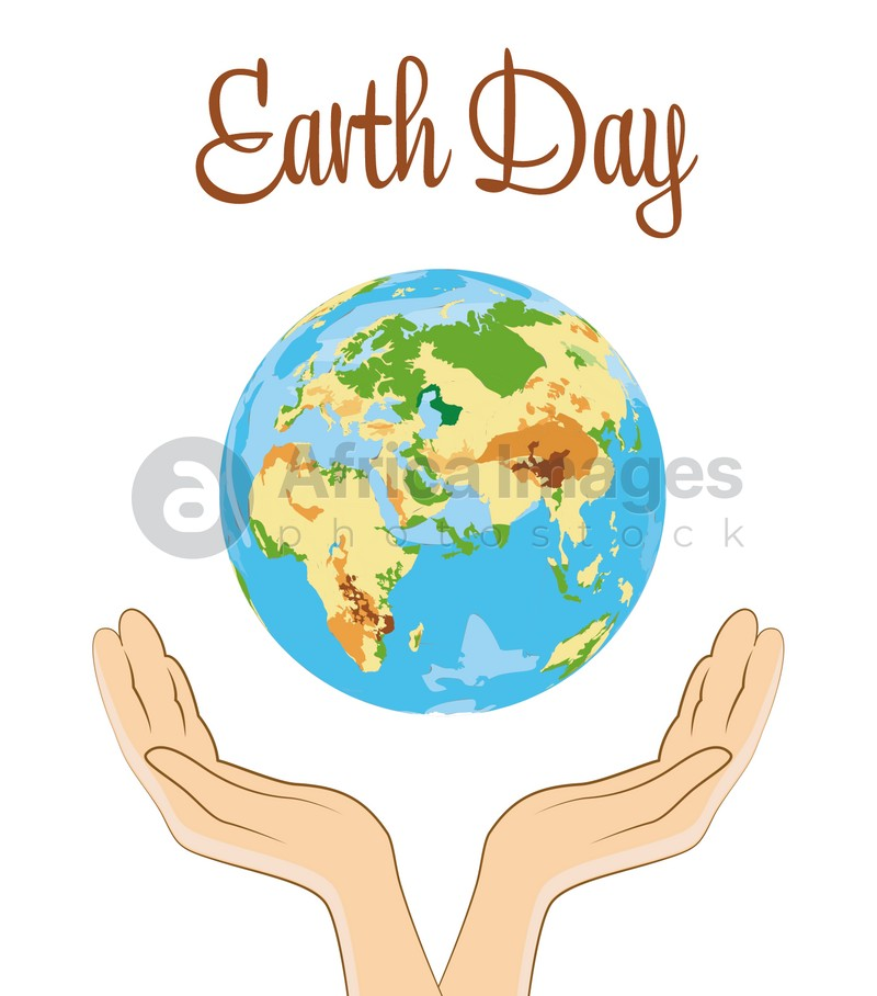 Happy Earth Day. Human holding hands near planet on white background, illustration