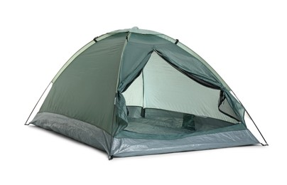 Comfortable dark green camping tent on white background