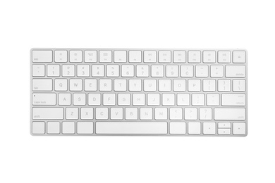 Modern wireless keyboard isolated on white, top view
