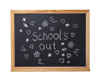 Blackboard with words School's Out and pictures isolated on white. Summer holidays