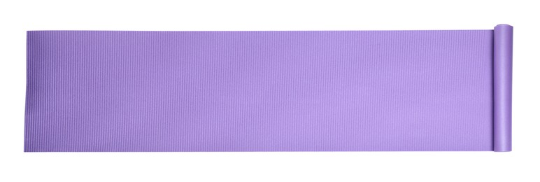 Violet camping mat isolated on white, top view. Banner design