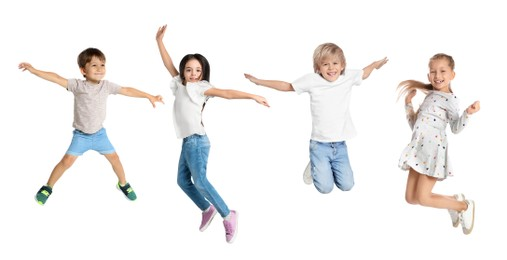 Cute little children jumping on white background, collage. Banner design