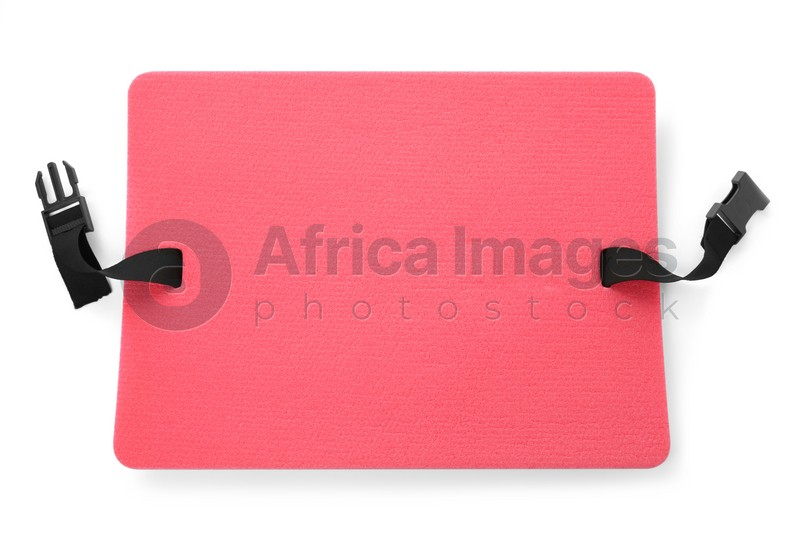 Pink foam seat mat for tourist isolated on white, top view