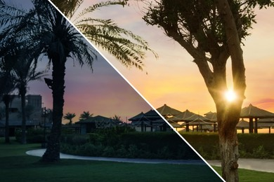 Photo before and after retouch, collage. Beautiful landscape with tropical resort at sunset