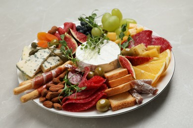 Set of different delicious appetizers served on light grey table