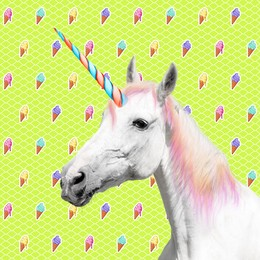 Trendy art collage. Beautiful unicorn on color background