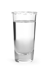 Mexican Tequila in shot glass with salt isolated on white