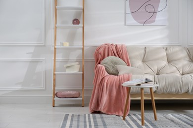 Modern living room interior with comfortable sofa and pink blanket