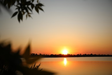 Picturesque view of tranquil river at sunset