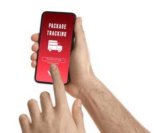 Man tracking parcel via smartphone on white background, closeup