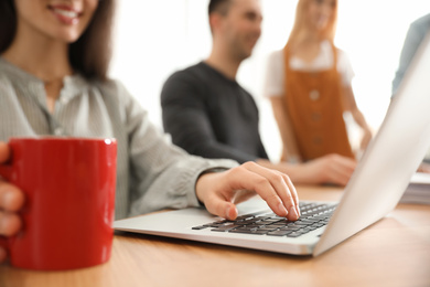 Female designer working with laptop at table, closeup