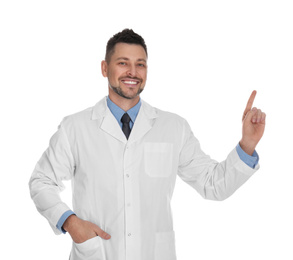 Happy man in lab coat on white background