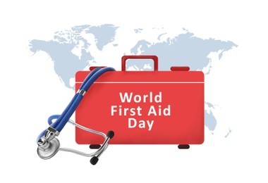 World First Aid Day. Kit of medical supplies, stethoscope and map on white background, illustration