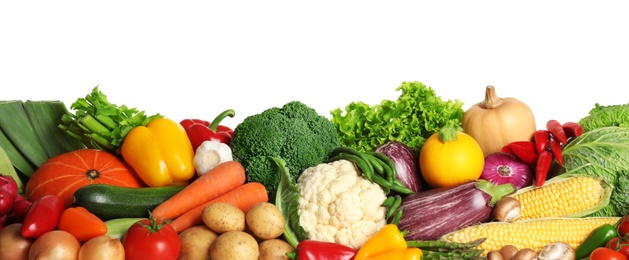 Pile of different fresh vegetables on white background