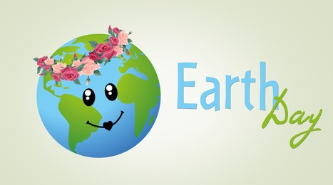 Happy Earth Day. Illustration of planet with cute smiley face and floral wreath on light background, banner design