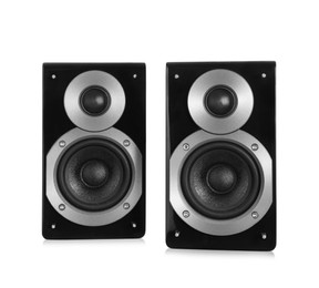 Modern powerful audio speakers on white background