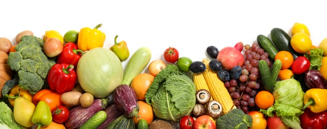 Assortment of fresh organic fruits and vegetables on white background, top view