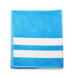 Blue towel isolated on white, top view. Beach object