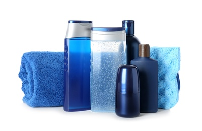 Set with men's personal hygiene products on white background