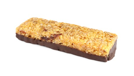Granola bar with chocolate isolated on white. High protein snack