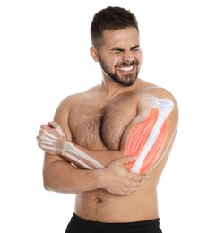 Man having elbow pain on white background. Digital compositing with illustration of arm bones