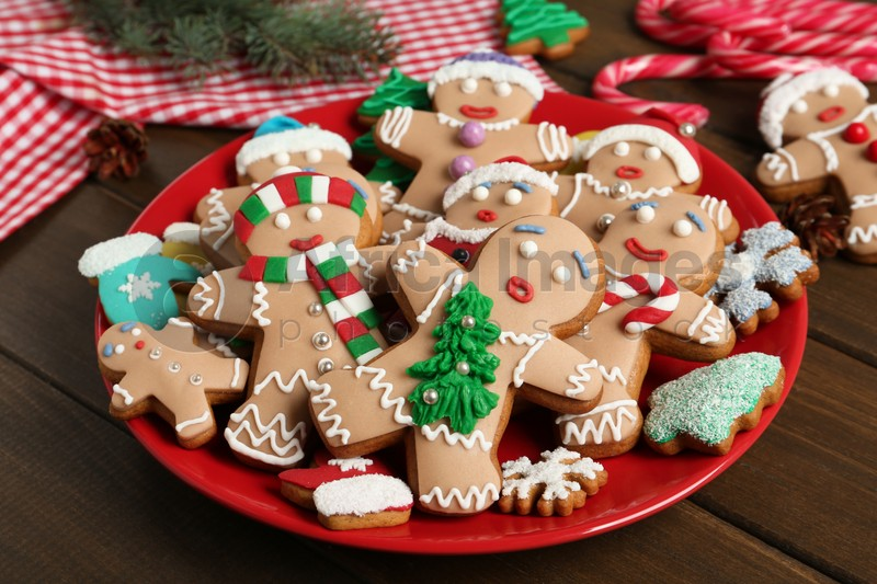 Delicious Christmas cookies on wooden table, closeup