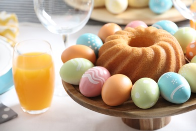 Festive Easter traditional meal on table, closeup with space for text