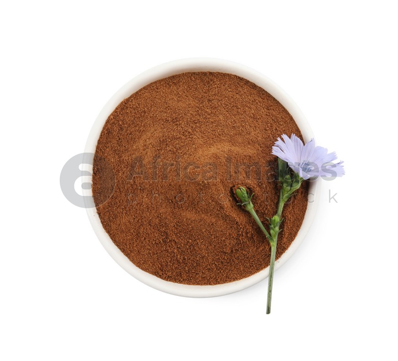 Plate of chicory powder and flower on white background, top view