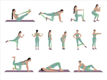 Woman doing exercises with fitness elastic band on white background, collage. Vector illustration