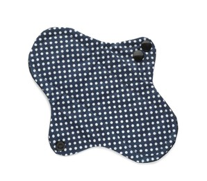 Cloth menstrual pad isolated on white, top view. Reusable female hygiene product