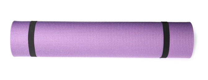 Violet rolled camping or exercise mat on white background, top view