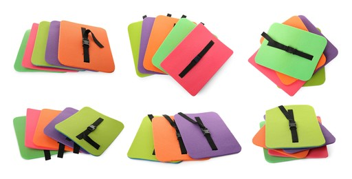 Set with colorful foam tourist seat mats on white background. Banner design