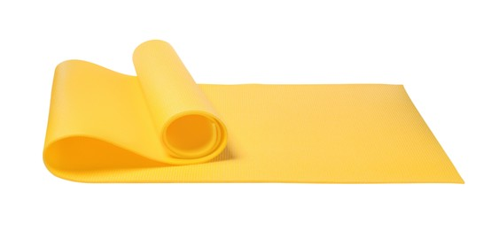 Bright yellow camping mat isolated on white