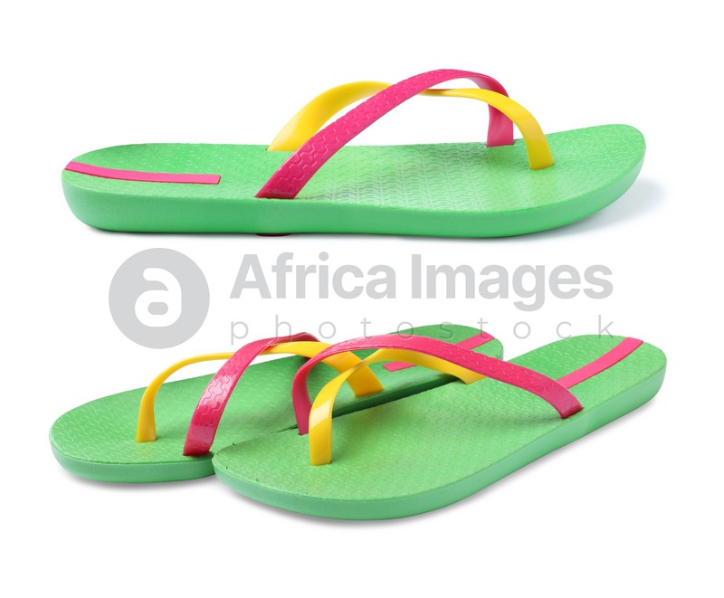 Pairs of green flip flops on white background, collage