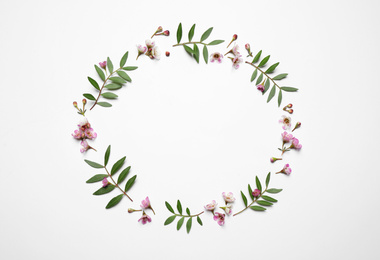 Frame made of beautiful flowers on white background, top view with space for text. Floral card design