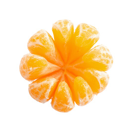 Peeled fresh juicy tangerine isolated on white, top view