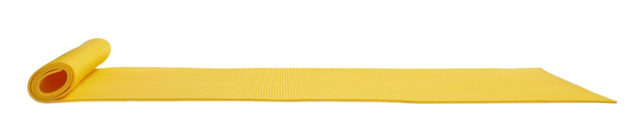 Yellow camping mat isolated on white. Banner design