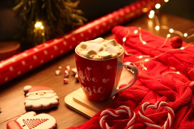 Tasty hot drink with marshmallows. Christmas atmosphere