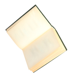 Open old hardcover book isolated on white