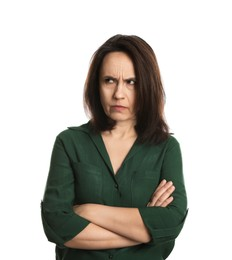 Portrait of angry woman on white background. Hate concept