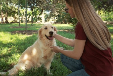 Cute golden retriever dog giving paw to young woman in park