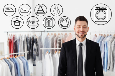 Different icons and young businessman at dry-cleaner's