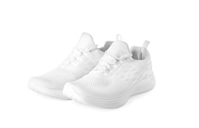 Stylish sport shoes on white background. Trendy footwear