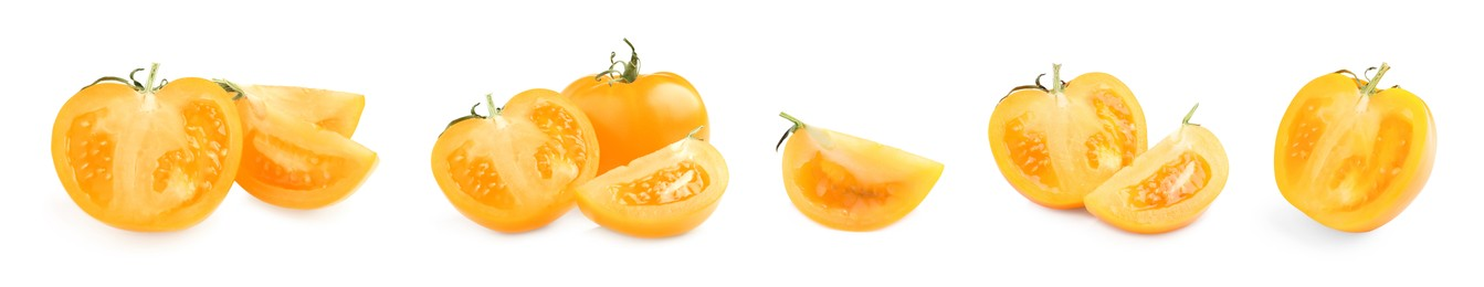 Set with fresh ripe yellow tomatoes on white background. Banner design