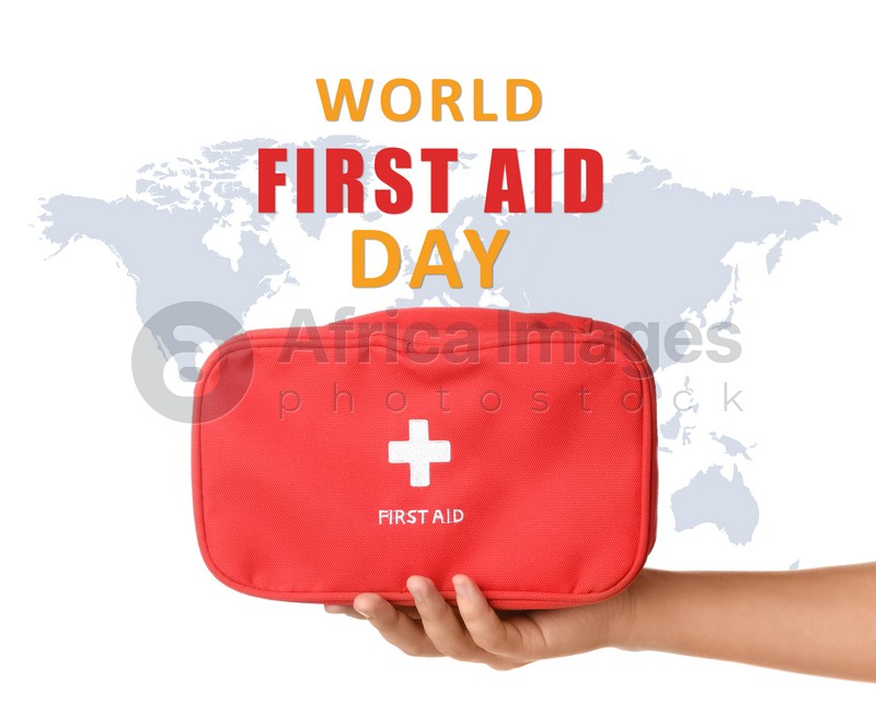 World First Aid Day. Woman holding kit of medical supplies and map on background, illustration