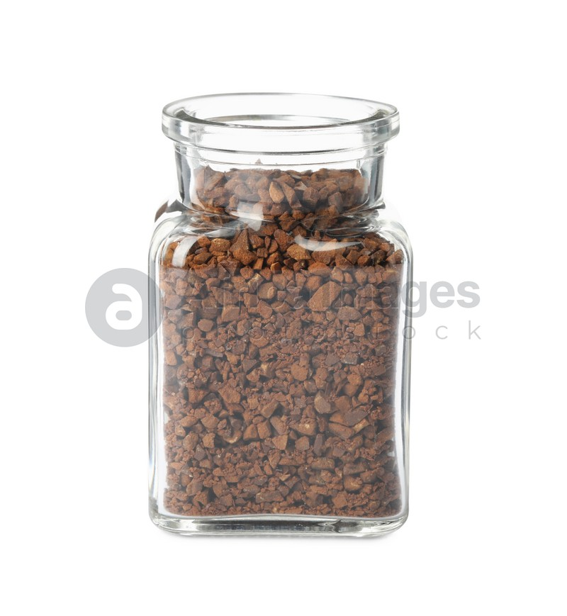 Jar of chicory granules isolated on white