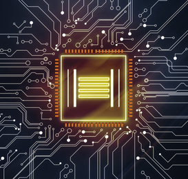 Electronics and technology. Circuit board with chip pattern illustration