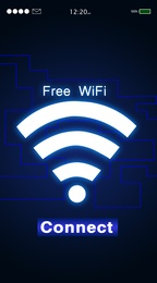 Free WiFi. Gadget display with text and symbol, illustration design