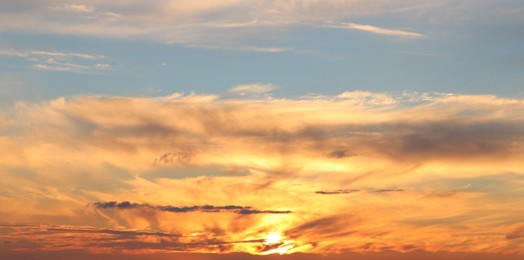 Picturesque view of beautiful sunset sky with clouds