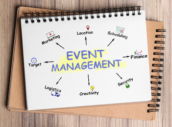 Notebook with event management scheme on wooden table, top view